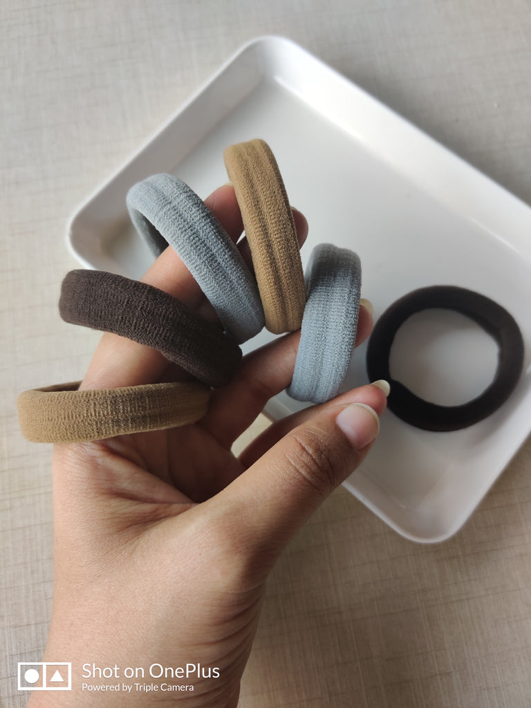 Evogirl Rubberbands Schooltime Elastic Rubberband Soft & Strong  1.4cm Thick Brown, Grey, Skin