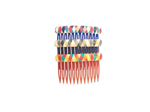 Evogirl Hair Comb Quilted Dark Shade Hair Clips, Bun Decore Multicolored, Large, for Women/Girls (Pack of 3)