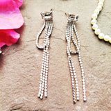 Evogirl Earrings Long Chain Diamond Sequence Rectangle Crystal Chandelier Partywear Drop  Silver ,Med, For Women/Girls  /rb2259