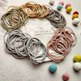 EVOGIRL Circle Shaped Hair Ties Everyday Wear Soft & Strong Ponytail Holder Pastel Shade Small Pack Rubber Bands,for Women/Girls,100, Pack