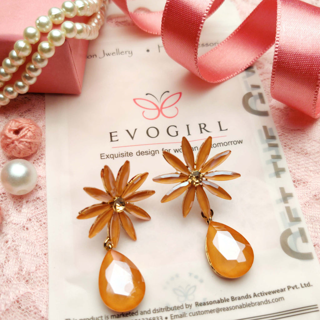 Evogirl Earrings Crystalized Stud Tear Drop Floral Fancy Partywear Style Golden ,Med, For Women/Girls  /rb2194