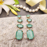 Evogirl Earrings Crystalized Stud Rectangle Shape Pestal Frosted Drop Dangle Green ,Med, For Women/Girls / Partywear  /rb2111