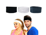 Evogirl Headband Cotton Elastic Stretchable Sweatbands for Yoga,Hairband Black White Grey(Pack of 3)