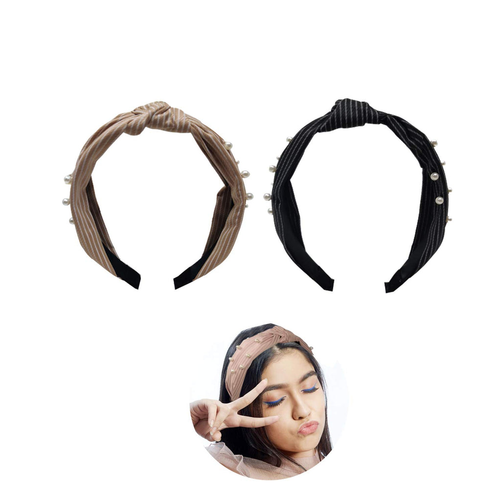 Evogirl Head Bands Pearl Lining Print Twisted Knot Fabric Hair BandBlack, Beige,Large, for Women/Girls