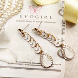 Evogirl Earrings Crystalized Stud Tear Drop Floral Fancy Partywear Style Shiny Sparkle White ,Med, For Women/Girls  /rb2197