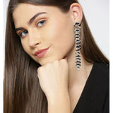 Evogirl Earrings Long Chain Sequence Party Wear Crystalized Stone Sparkly Shiny Dark Silver ,Med, For Women/Girls  /rb2256