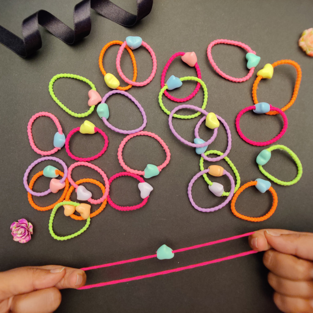 Evogirl Kids Ponytail Heart Bids Rubber Bands Wavy & Soft Hair Ties AccessoriesNeon Multicolour,Med, for Children/Girls