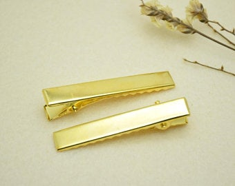 EVOGIRL Slider Hair Pin Ractangle Crocodile Clip , Elegant Retro 8 cm Gold Medium Hair Clip