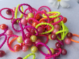 EVOGIRL Kids Ponytail Rubber Bands Balls Wavy & Soft Hair Ties Neon Medium Rubber bands,50 Pk