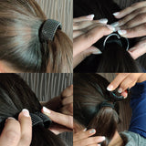 EVOGIRL Circled Shaped Elastic Rubberband Stretch Ponytail Hair Clip Fancy Glossy Black & Rosegold