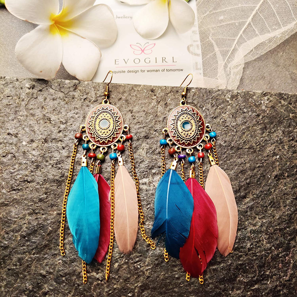 Evogirl Feather & Beads Tassel Fashion Vintage Boho Earrings for Women/Girls
