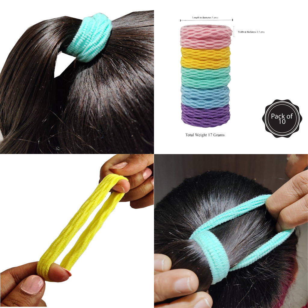 Evogirl Rubberbands Thick & Sturdy No Tangle Soft Hair Ties Pastle Shade Multicolored,  (Pack of 10)