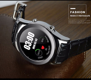 2018 Premium Man Round Smartwatch Leather, Support SIM, SD Card, Bluetooth, WAP, GPRS, SMS, MP4