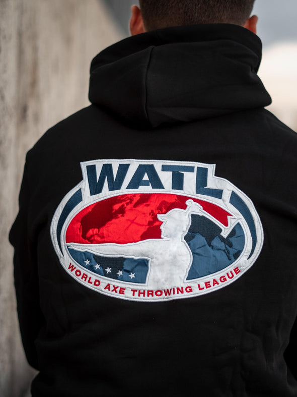 World Axe Throwing League Apparel Hoodie Back Logo
