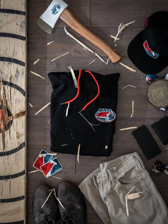 World Axe Throwing League Apparel Hoodie Flatlay