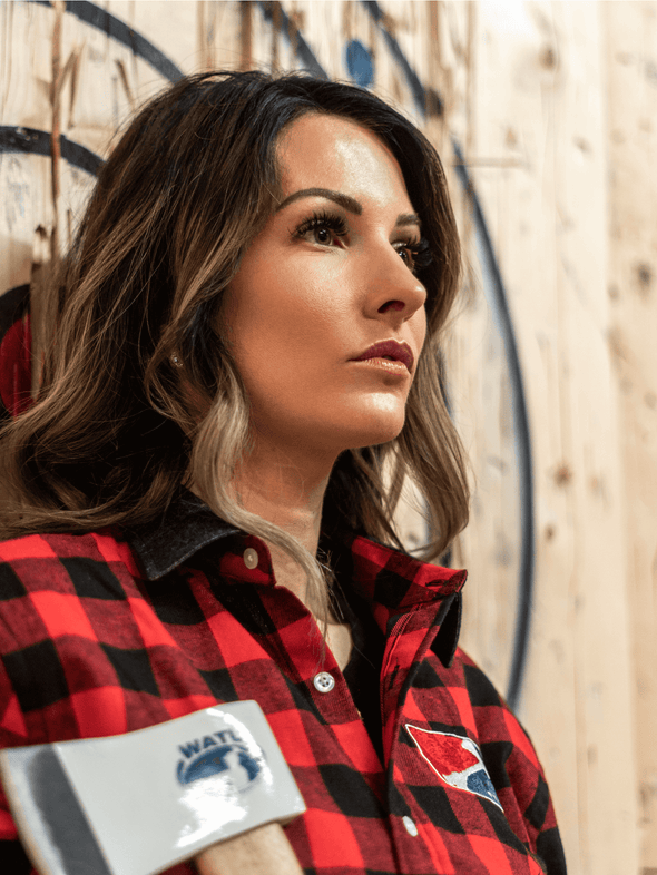 World Axe Throwing League Apparel Flannel Detail