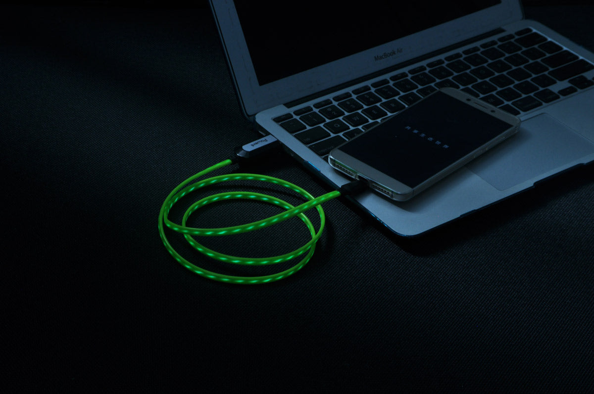 Flow Series - Black & Green 2-in-1 Fast Charging Cable for Android