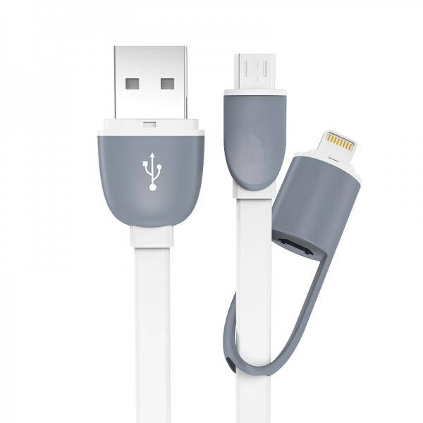"Duet Series - 8"" White 2-In-1 Charging Cable"