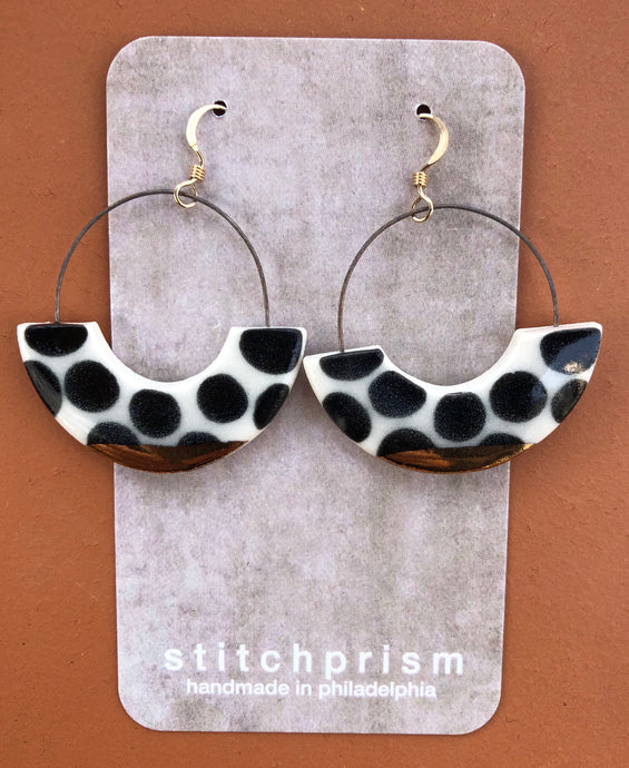 Polka Dot Porcelain Earrings