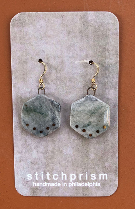 Mini Hexagon Dangle Earrings