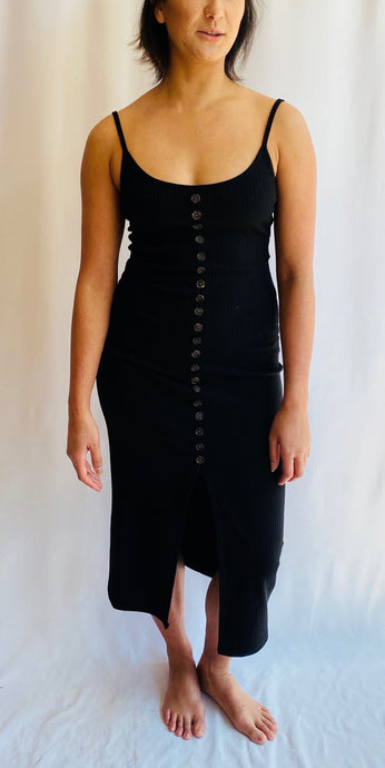 Fitted Button Front Tank Dress