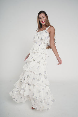 Aroma Couture Ropa Flowers cape maxi dress.
