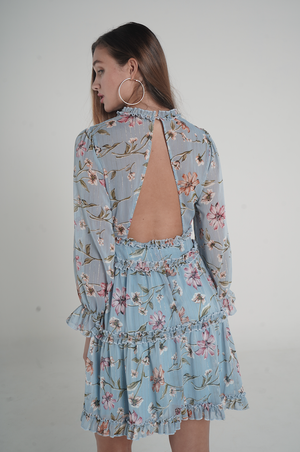 Aroma Couture Ropa Ruffle floral open back dress.