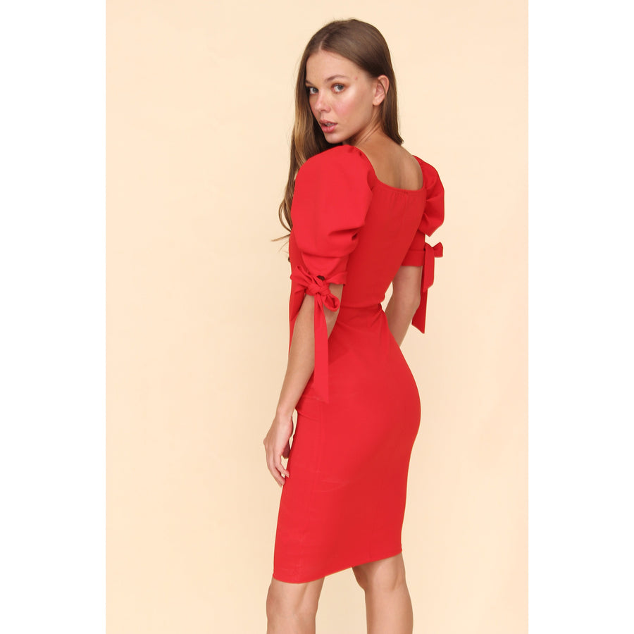 Aroma Couture Ropa Xs / Red Vestido bodycon mangas englobadas