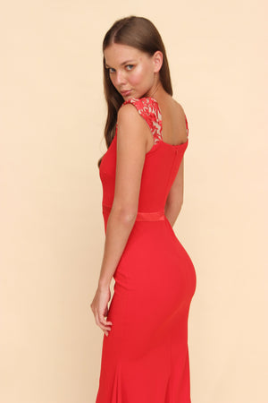 Aroma Couture Ropa s / red Vestido largo off shoulder