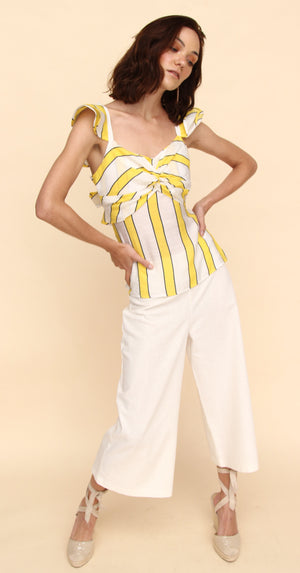 H apparel by Hispania Ropa S / Yellow Blusa de lino con escote en espalda