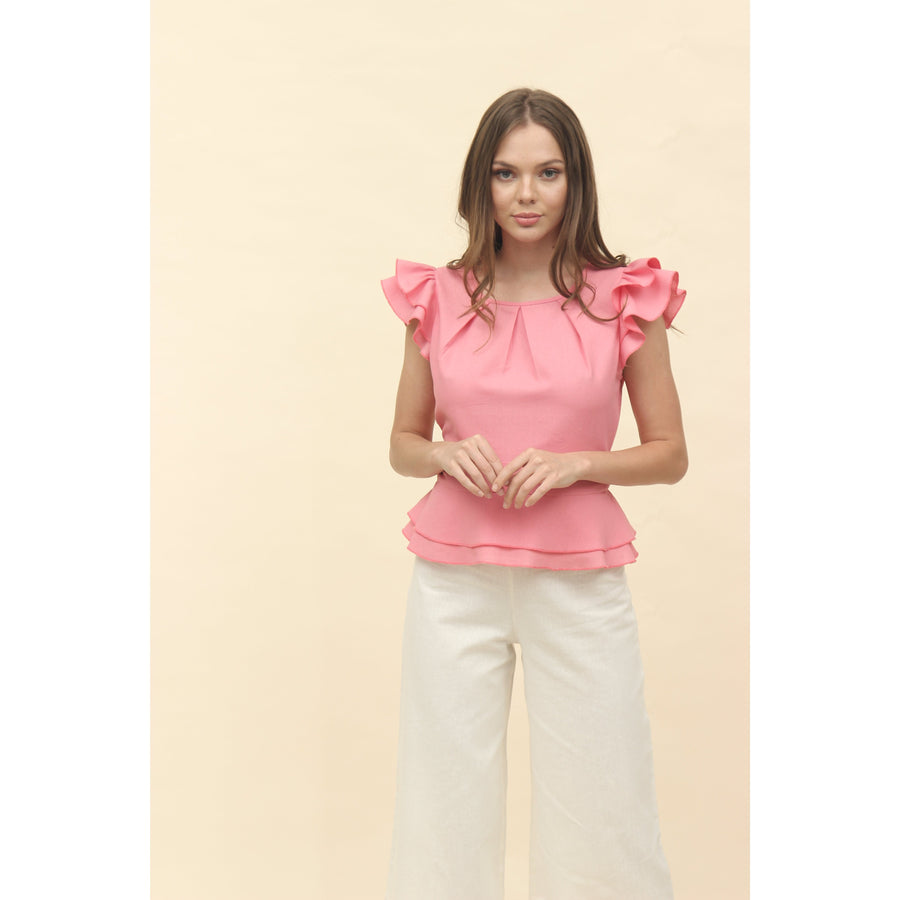 H apparel by Hispania Ropa S / Ivory Blusa doble peplum lino