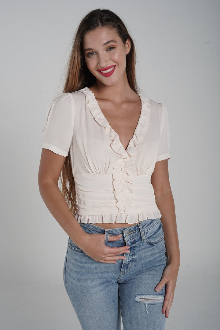 H apparel by Hispania Ropa Dropped ruffle blouse.