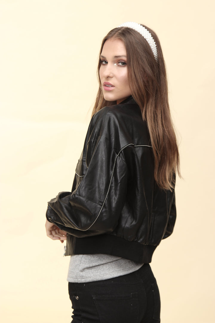 H apparel by Hispania Ropa Faux leather jacket with silver trim.