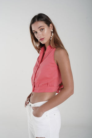 H apparel by Hispania Ropa Linen high neck crop top.