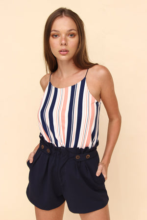 H apparel by Hispania Ropa s / navy Paper waist short