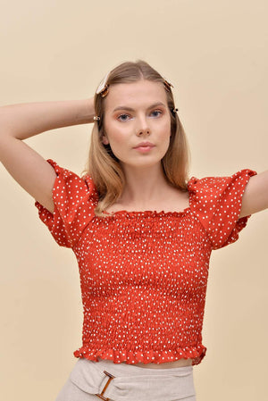 H apparel by Hispania Ropa Polka dot smock top