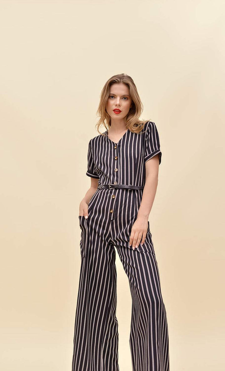 H apparel by Hispania Ropa Striped Palazzo with pockets.