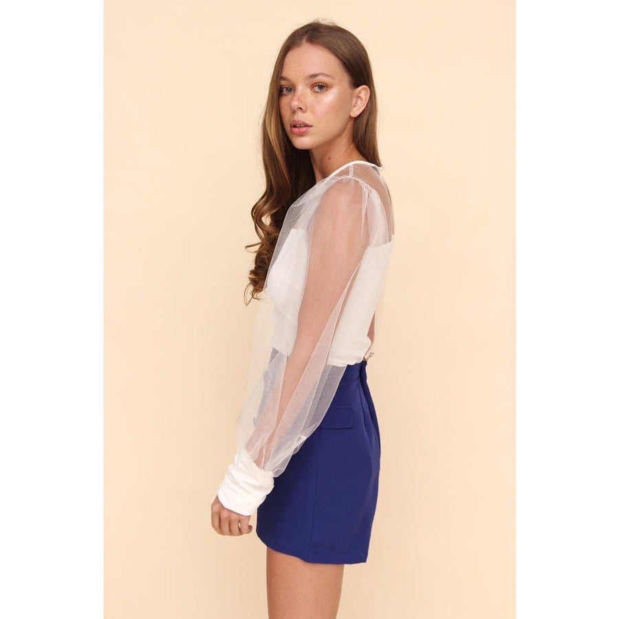 H Apparel Ropa S / Ivory Blusa Manga Tulle