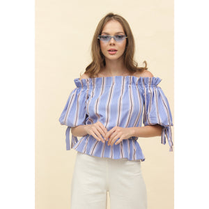 H Apparel Ropa S / baby blue/blush Blusa off shoulder con mangas englobadas
