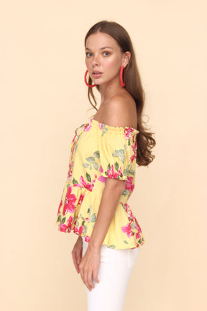 H Apparel Ropa s / yellow Blusa off shoulder de flores.