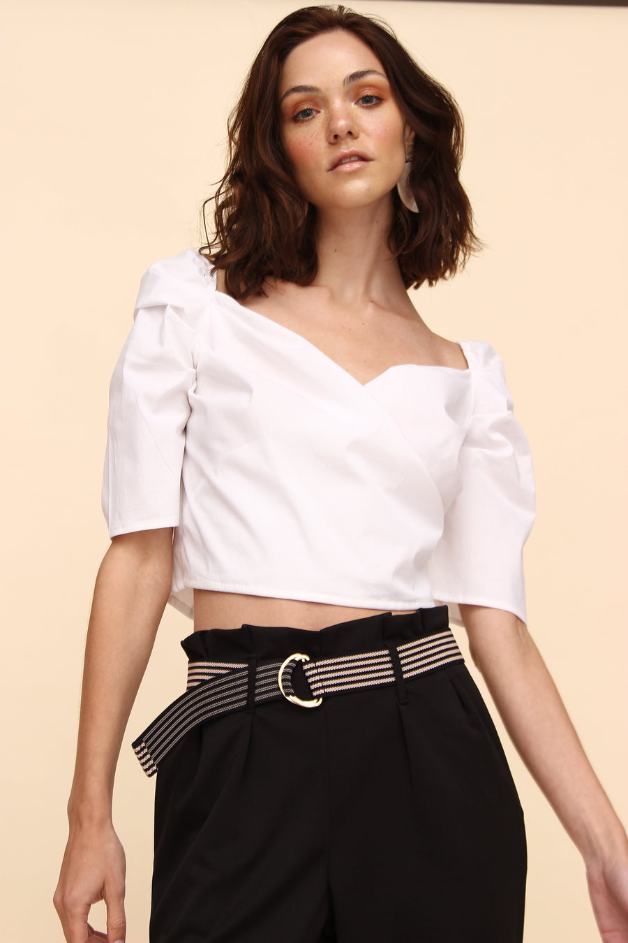 H Apparel Ropa s / ivory Blusa popelina crop top