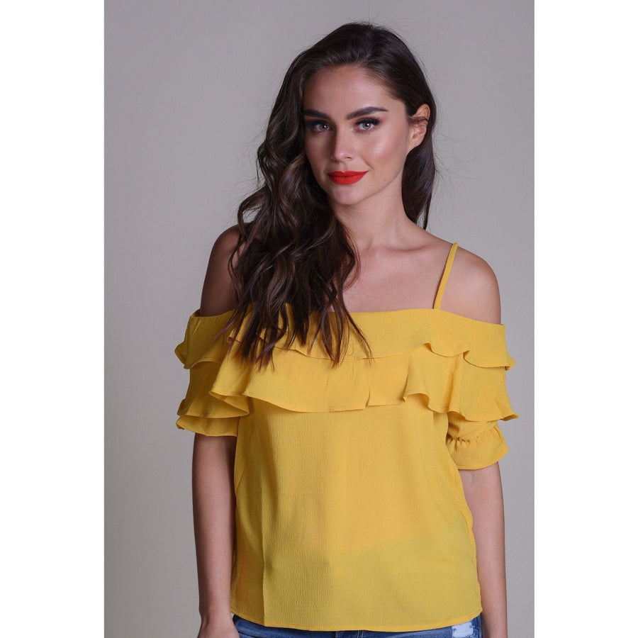 H Apparel Ropa Blusa shoulder cutt out.