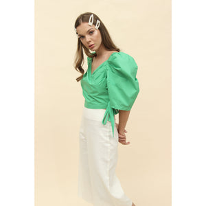H Apparel Ropa L / Green Blusa popelina mangas englobadas
