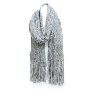 Winter Honeycomb Rectangle Scarf with Fringe