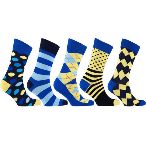 Men's 5-Pair Funky Mix Socks-3034