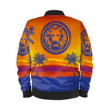 Womens Blue & Orange Palm Tree Beach Bomber Jacket