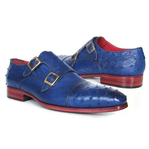 Paul Parkman Sax Blue Genuine Ostrich Double Monkstraps (ID#37U33)