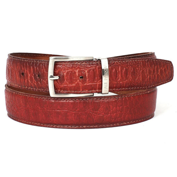 PAUL PARKMAN Men's Croc Embossed Calfskin Belt Reddish (ID#B02-RDH)
