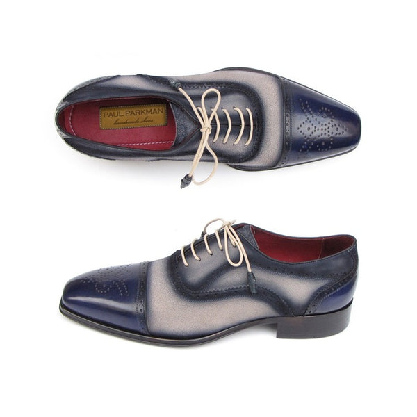 Paul Parkman Men's Captoe Oxfords - Navy / Beige  Suede Upper and Leather Sole (ID#024-BLS)