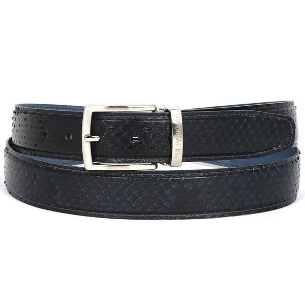PAUL PARKMAN Men's Navy Genuine Python (snakeskin) Belt (ID#B03-NVY)